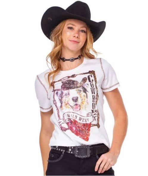T-Shirt  Feminina Zenz Western Cowboy Snow ZW0221010