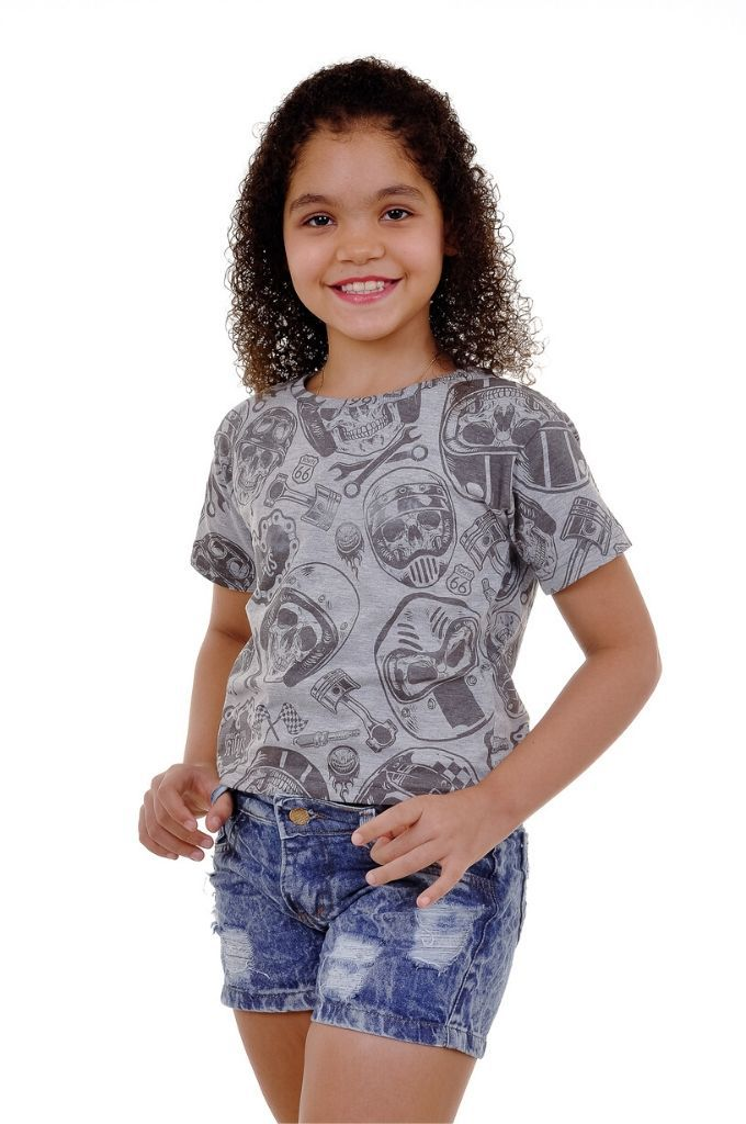 Camiseta Infantil Caveira Motociclista - Somos Todos Iguais