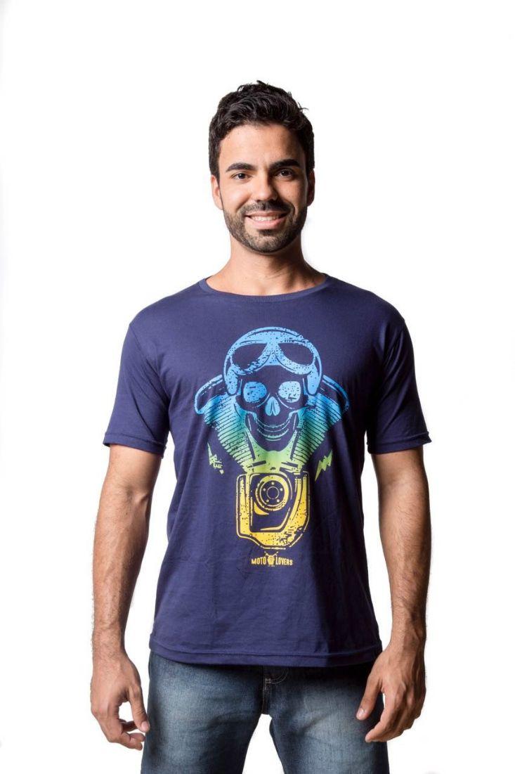 Camiseta Moto Lovers - Caveira Motociclista