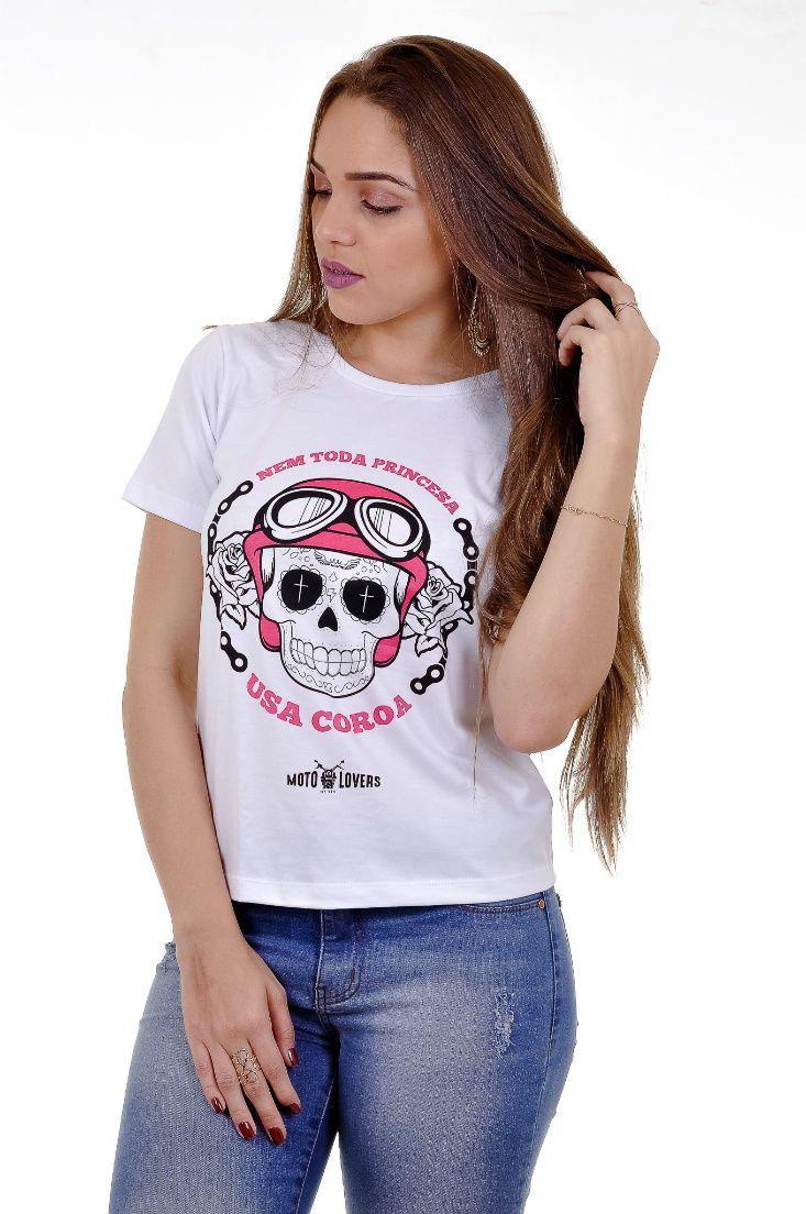 Camiseta Princesa Motociclista - Caveira Mexicana