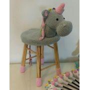 Banquinho Infantil Forrado em Crochet - Unicórnio
