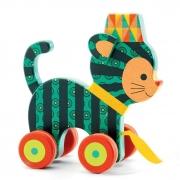 Brinquedo para Puxar em Madeira Djeco - Gato
