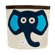 Cesto Organizador Infantil Redondo 3 Sprouts - Elefante Azul
