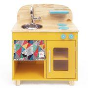 Mini Cozinha Infantil em Madeira Ateliê Materno - Amarela