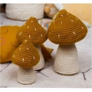 Trio de Cogumelos em Crochet - Mostarda
