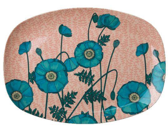 Bandeja Rice Dk em Melamina - Blue Poppy 30 x 22 cm