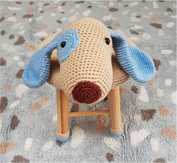 Banquinho Infantil Forrado em Crochet - Cachorro