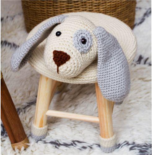 Banquinho Infantil Forrado em Crochet - Cachorro Cinza