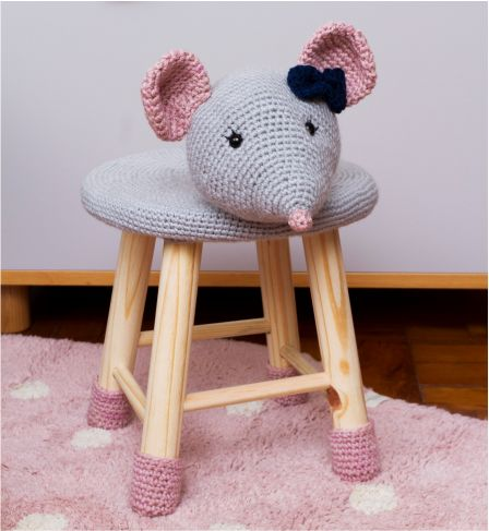 Banquinho Infantil Forrado em Crochet - Ratinha