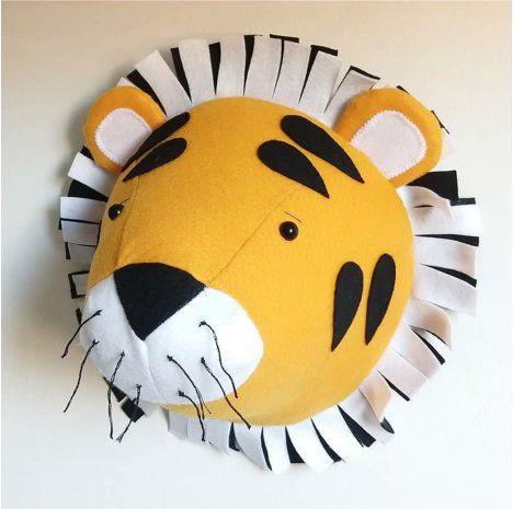Cabeça de Parede Artesanal em Feltro Tigre - Amarelo