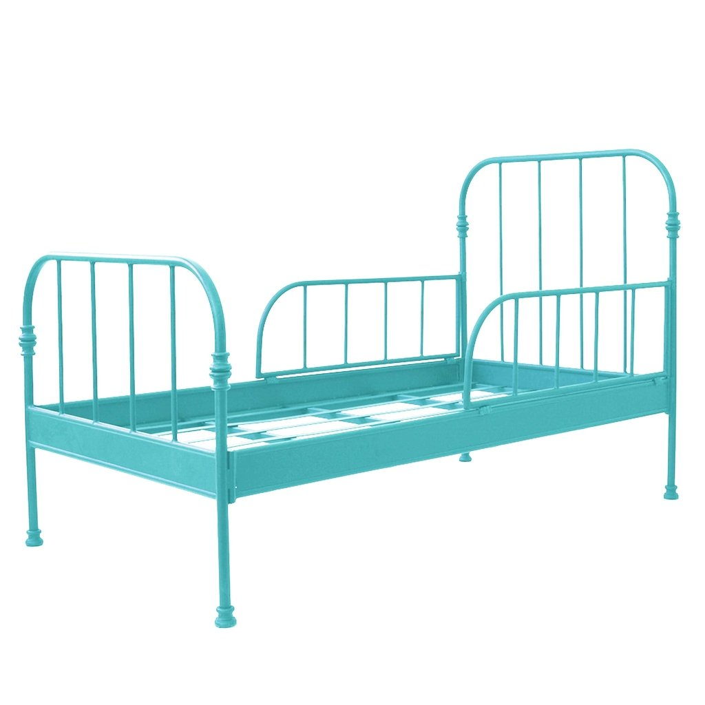 Cama de Ferro Solteiro Modelo Patente com Grades Laterais Azul Tiffany