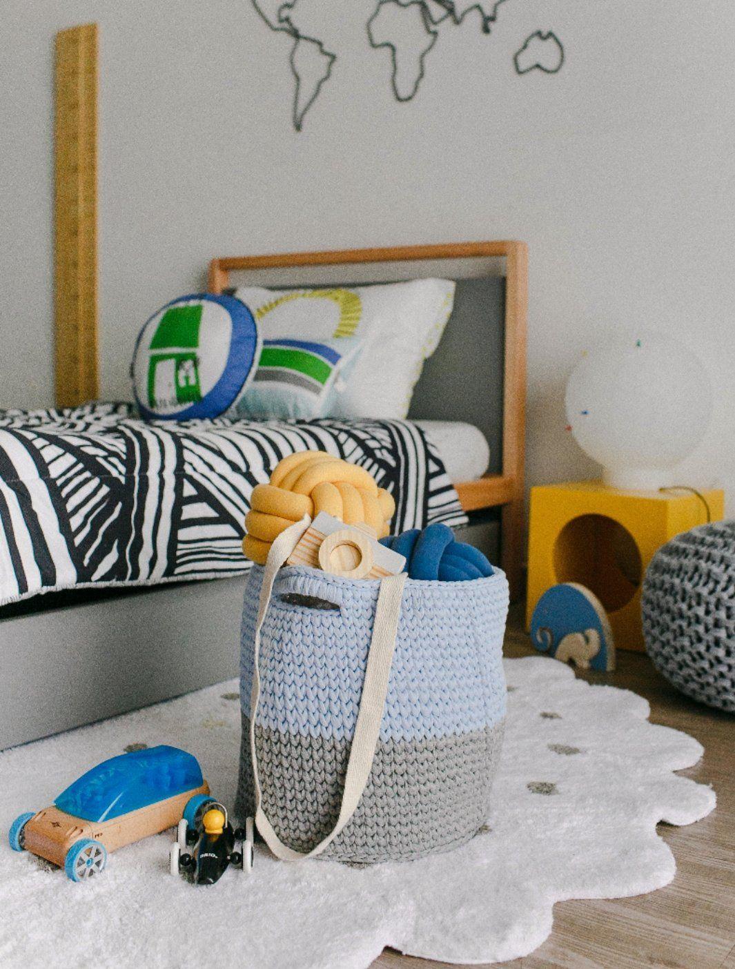 Cesto Organizador em Crochet  - Azul e Cinza