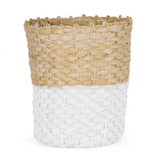 Cesto Organizador em Palha Natural e Branco - 33 cm
