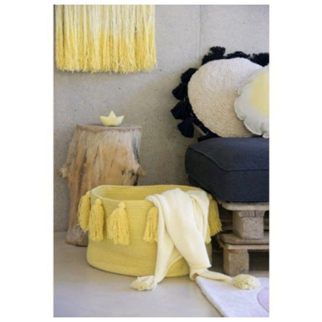 Cesto Lorena Canals Amarelo - Tassel Franjas - 30 x 45 cm