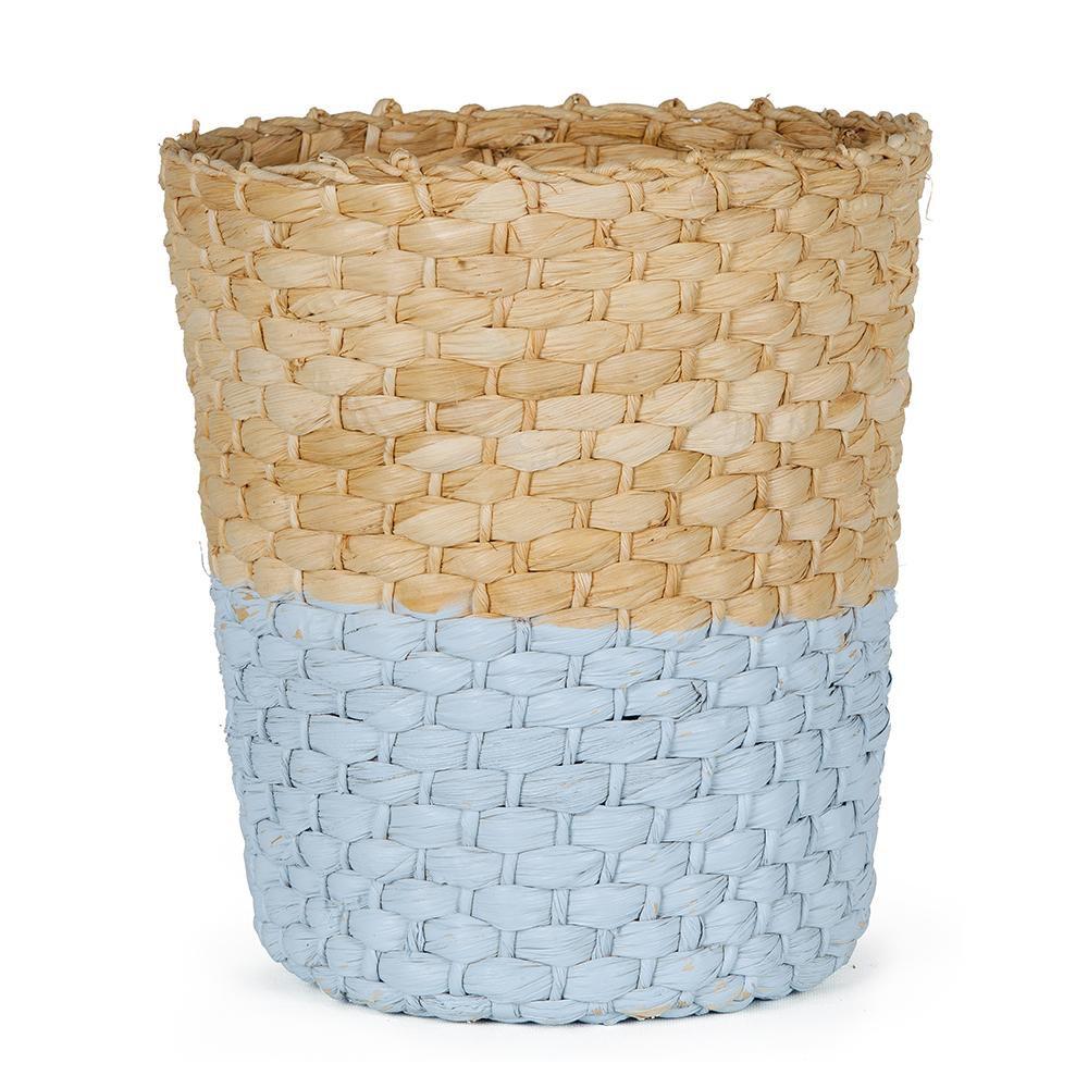 Cesto Organizador de Palha - Natural e Azul 33 x 31 cm