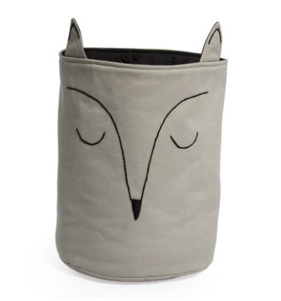 Cesto Organizador Adot em Algodão com Bordado - Cinza Raposa Fox