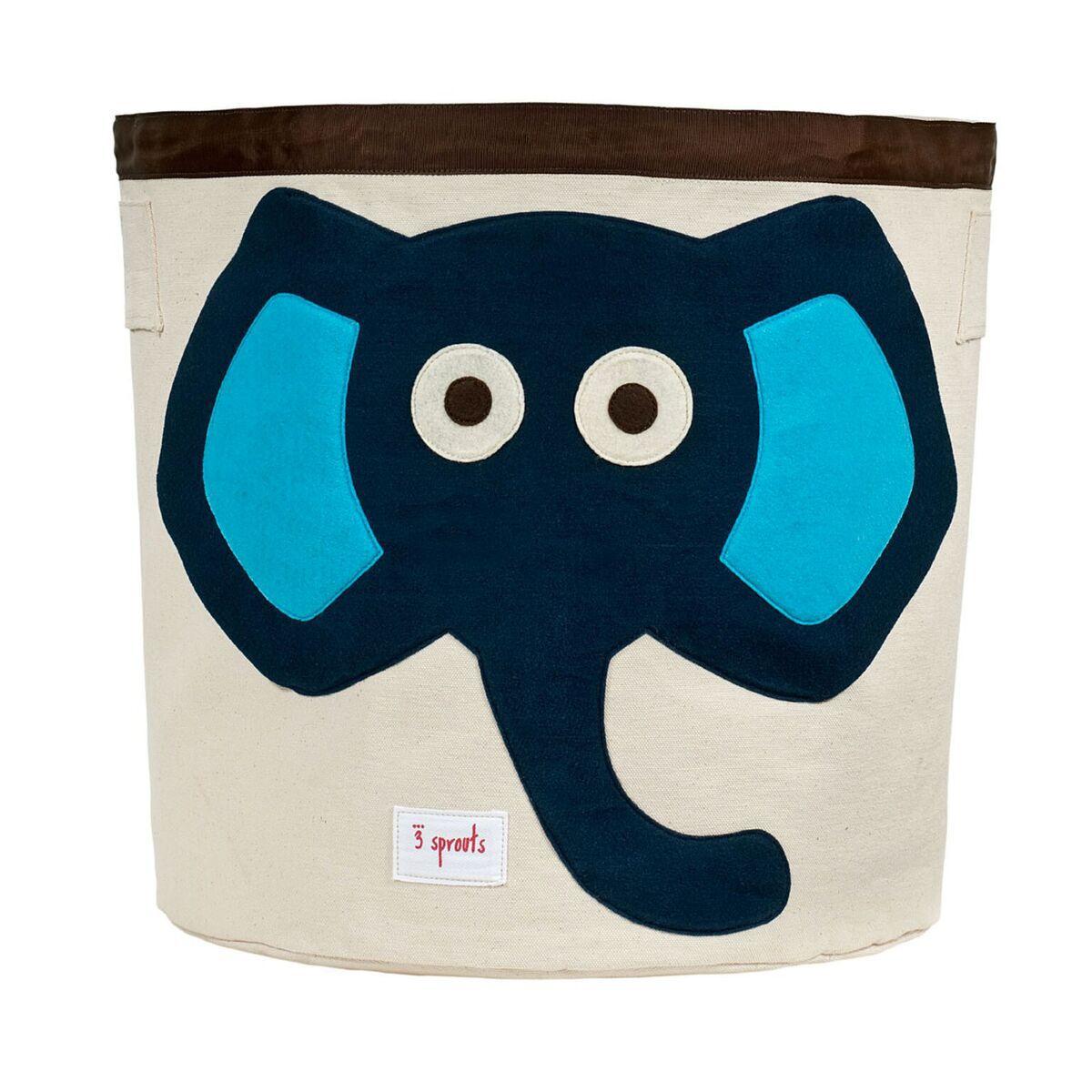 Cesto Organizador Infantil Redondo 3 Sprouts - Elefante Azul 43 x 44 cm