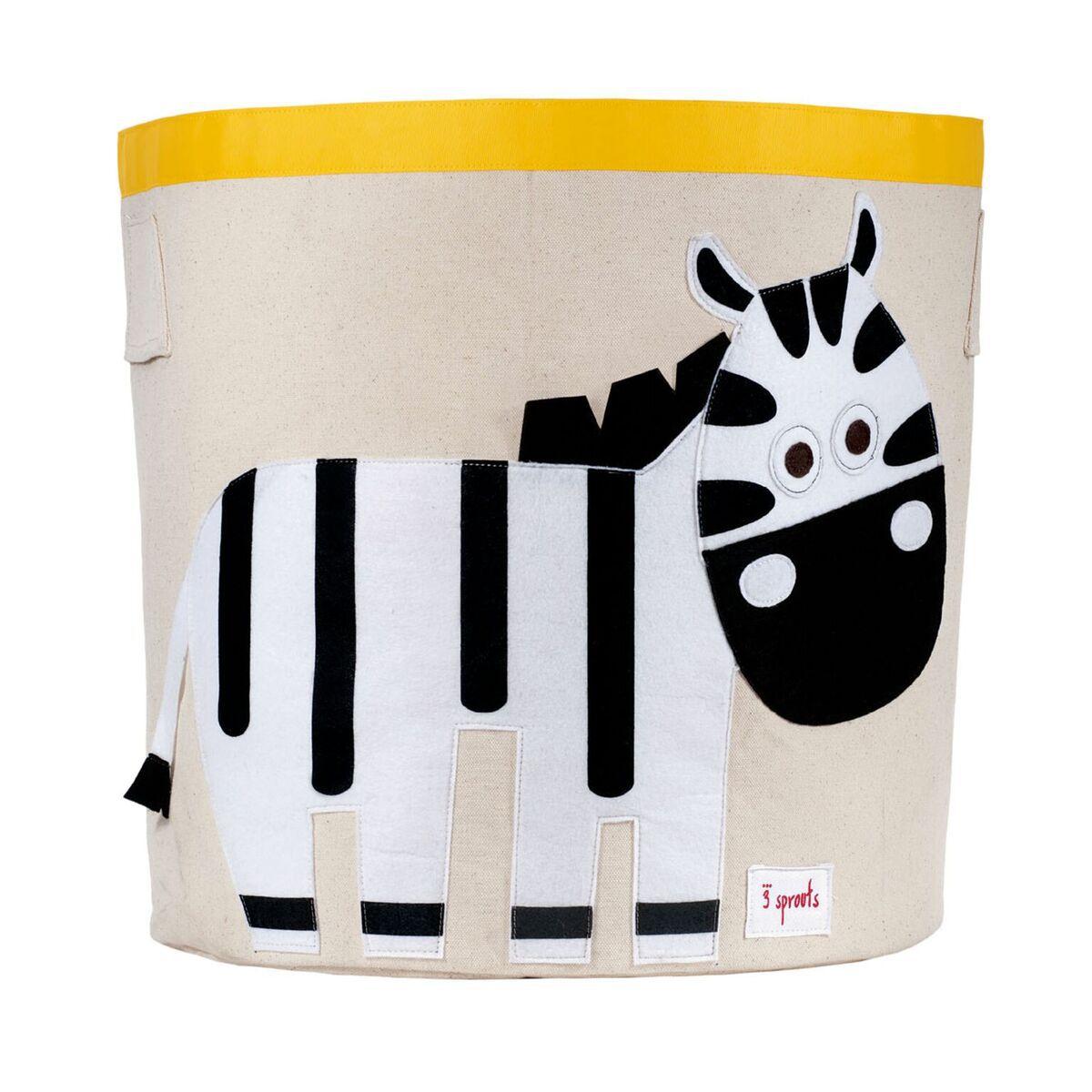 Cesto Organizador Infantil Redondo 3 Sprouts - Zebra 43 x 44 cm
