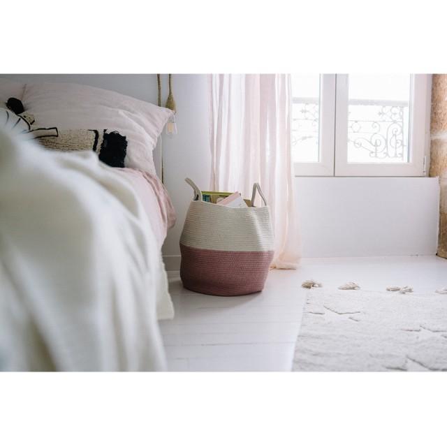 Cesto Lorena Canals Rosa e Natural - Zoco Ash Rose - 35 x 30 cm