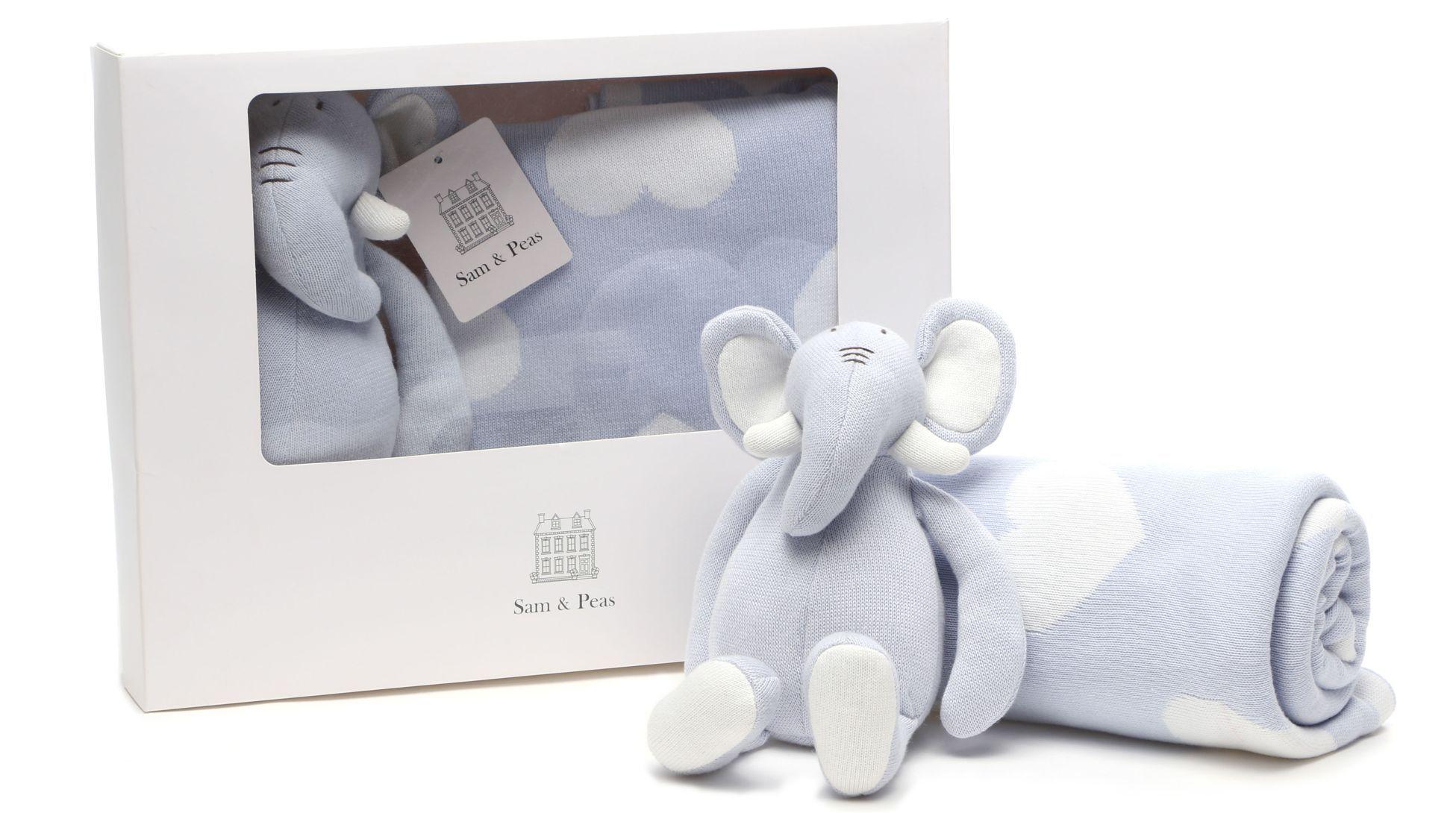 Manta e Naninha Elefante Sam & Peas - Nana Blue