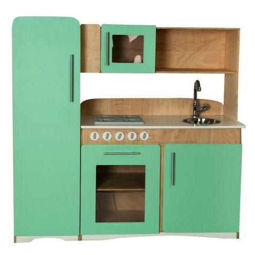 Retro Cozinha de Madeira Infantil Verde Menta