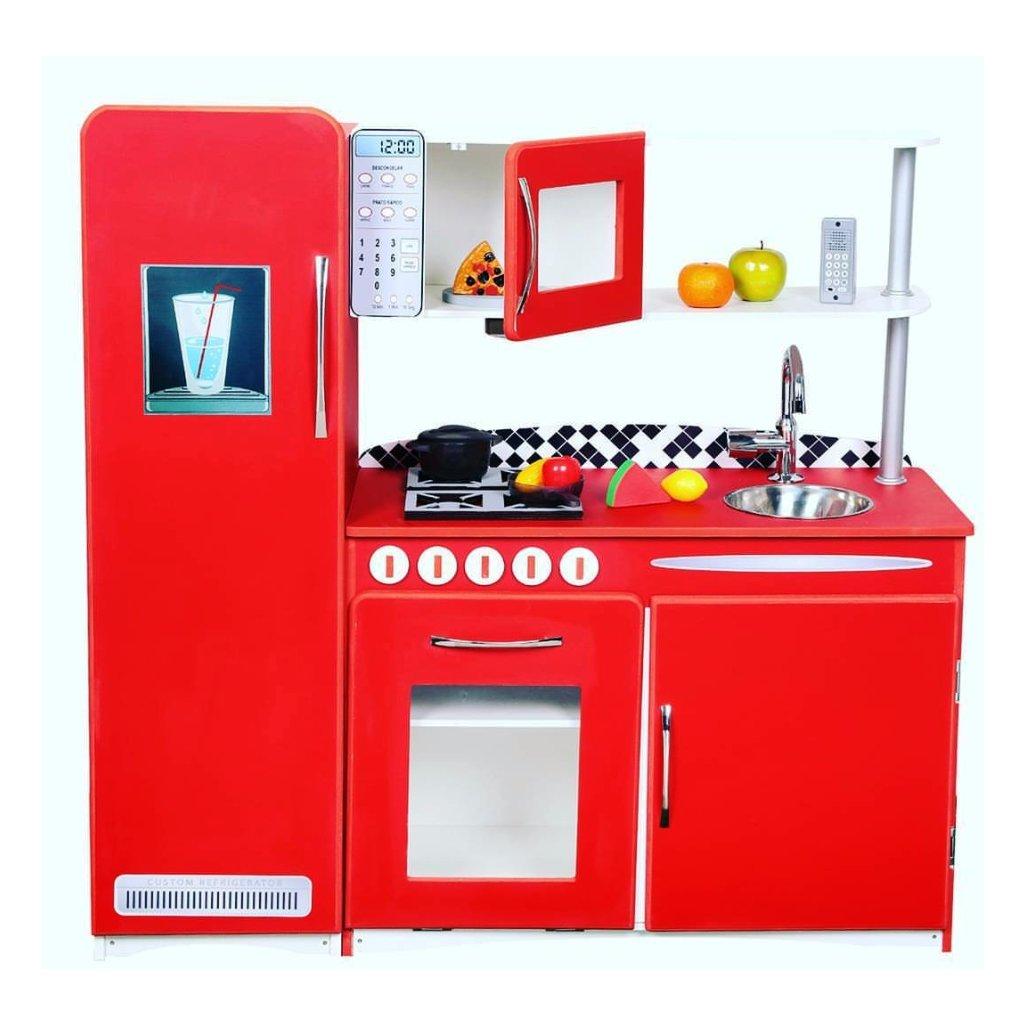 Cozinha Infantil de Madeira Retro Vermelha