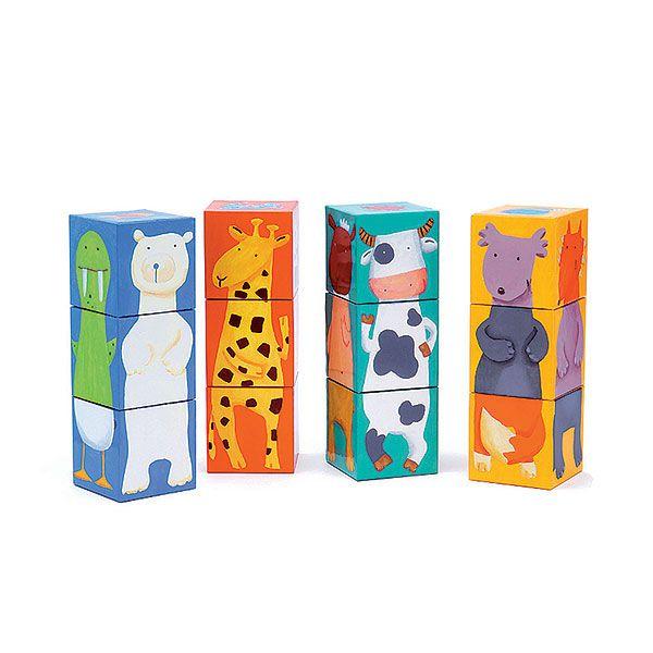 Cubos para Empilhar Djeco - Animais Coloridos
