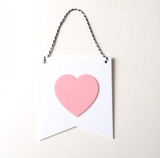 Flâmula Adot em Acrílico - Coração Branco e Rosa