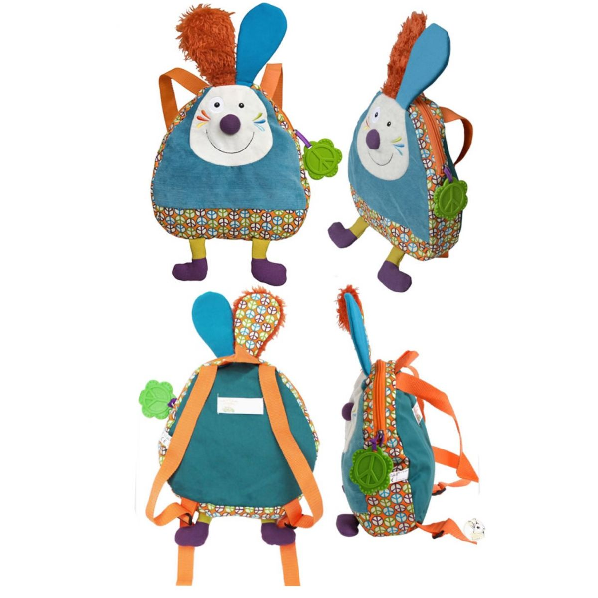 Mochila Infantil em Tecido Ebulobo - Happy Farm -  Jef
