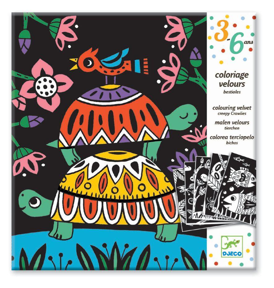 Ilustrações em Veludo para Colorir Djeco - Criaturinhas