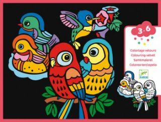 Ilustrações em Veludo para Colorir Djeco - Passarinhos