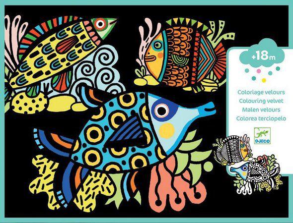 Ilustrações em Veludo para Colorir Djeco - Peixes