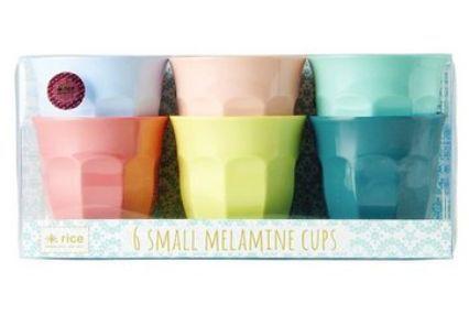 Kit com 6 Copos Rice Dk em Melamina - Happy Colors 7,5 x 7 cm
