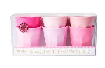 Kit com 6 Copos Rice Dk em Melamina - Pink Colors 6 x 5,5 cm