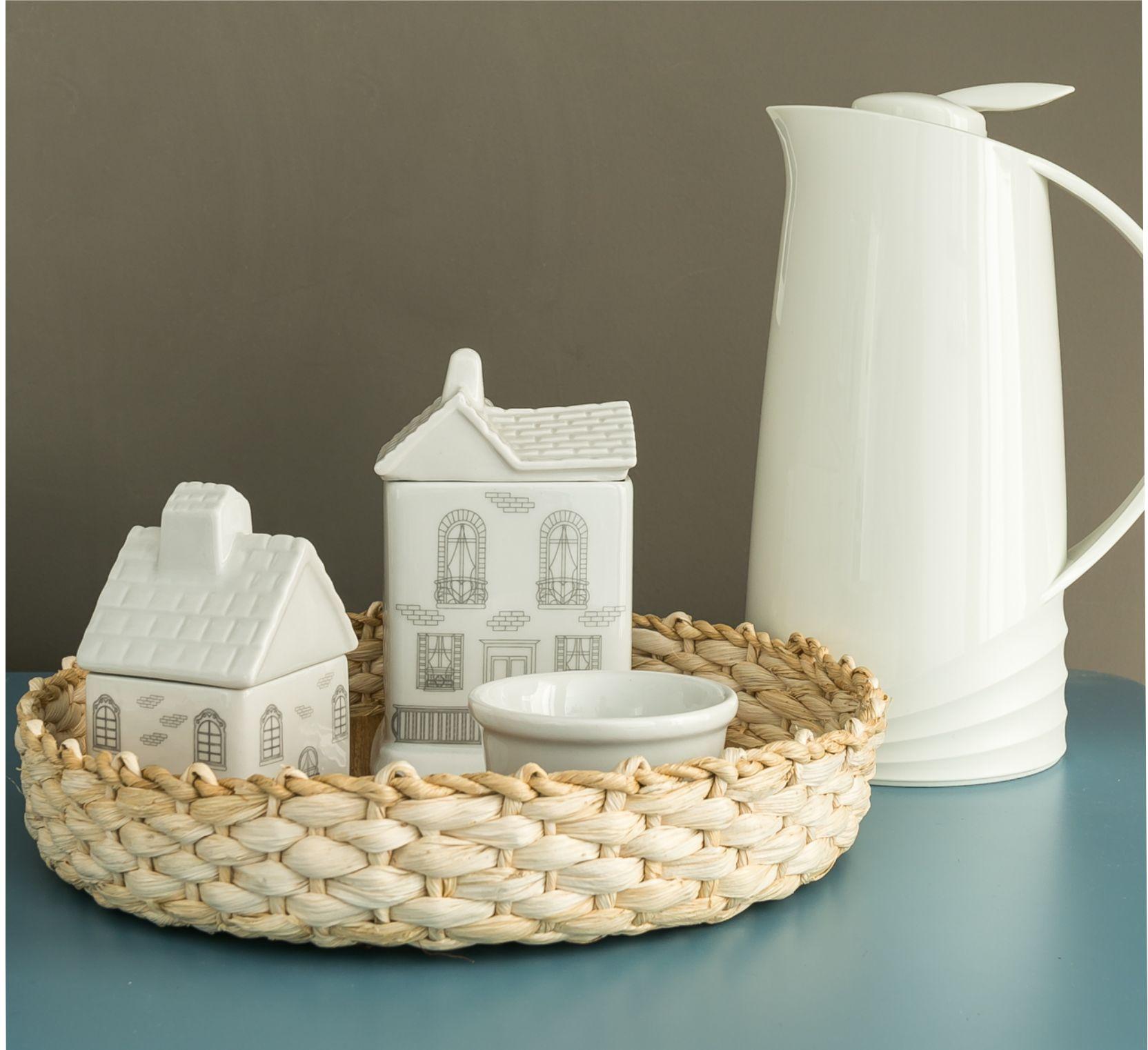 Kit de Higiene Casinhas em Branco e Cinza