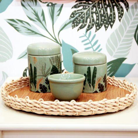 Kit de Higiene Folhagens Tropical Verde e Dourado