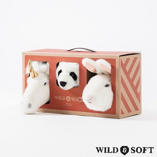 Lovely Box com 3 Mini Cabeças de Parede de Pelúcia  Wild & Soft