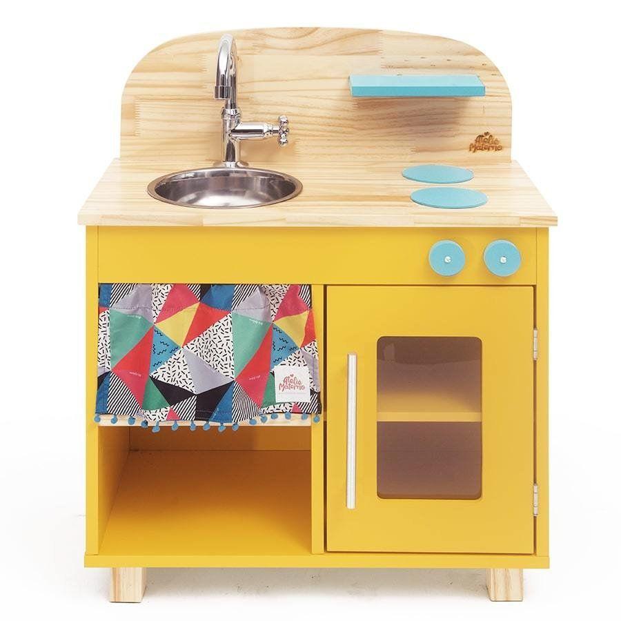 Cozinha de Madeira Infantil Ateliê Materno - Amarela