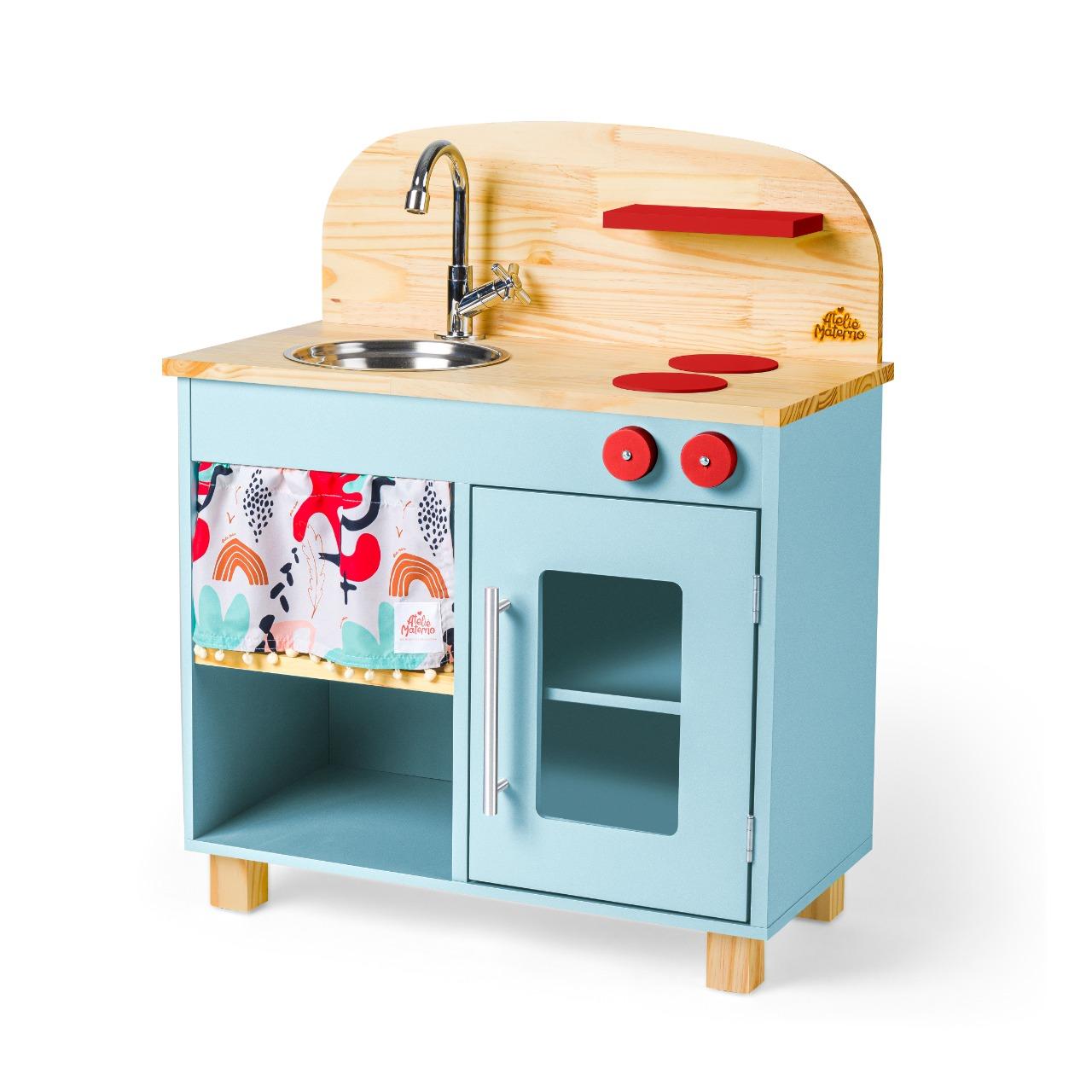 Mini Cozinha Infantil em Madeira Ateliê Materno - Azul Claro
