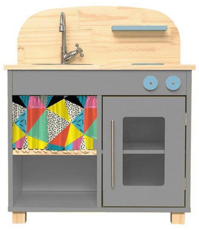 Mini Cozinha Infantil em Madeira Ateliê Materno - Cinza