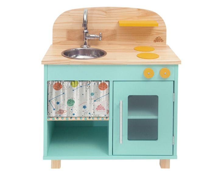 Mini Cozinha Infantil em Madeira Ateliê Materno - Verde Menta