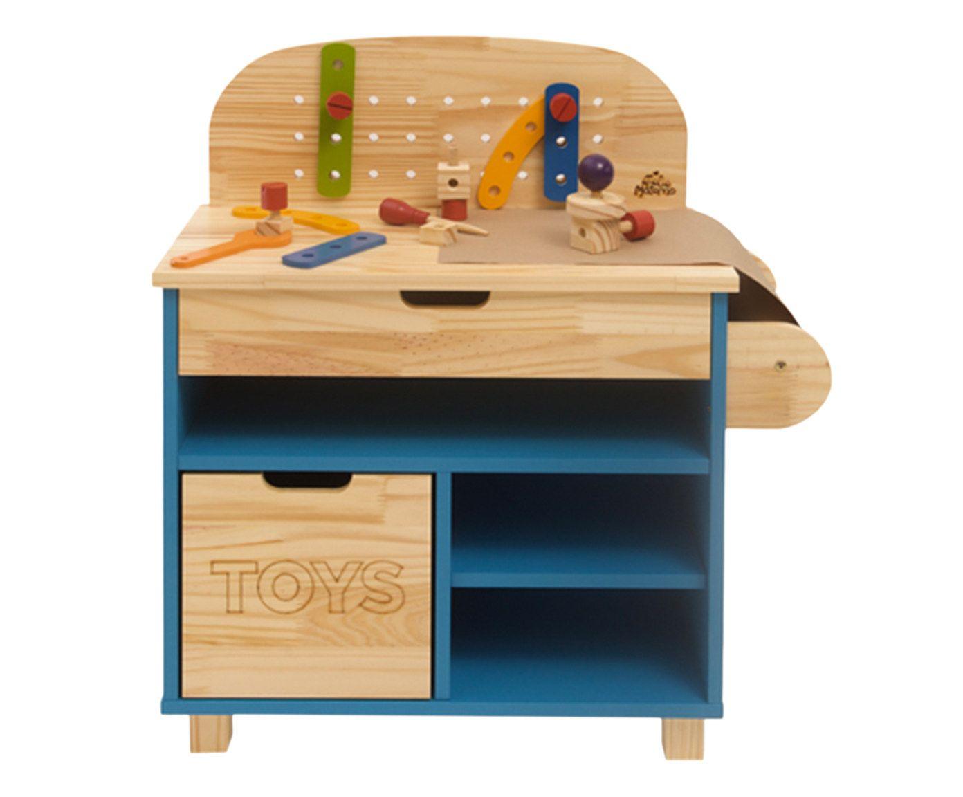 Mini Oficina Infantil em Madeira - Ateliê Materno - Azul