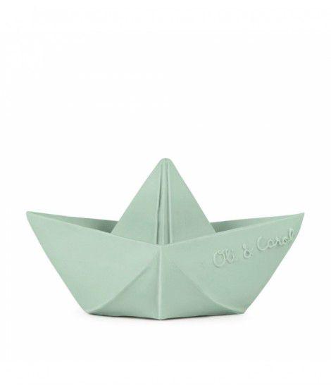 Mordedor Oli & Carol de Borracha Natural - Barquinho Origami Menta (verde)