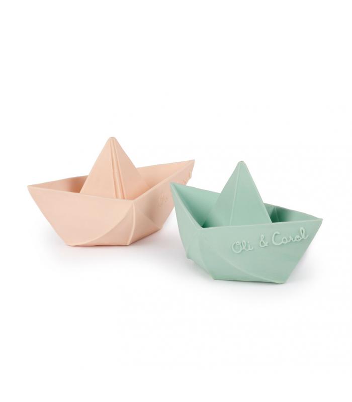 Mordedor Oli & Carol de Borracha Natural - Barquinho Origami Nude