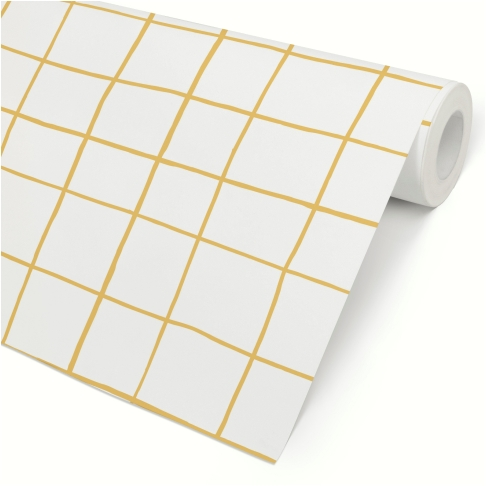 Papel de Parede Grid Irregular Amarelo Claro
