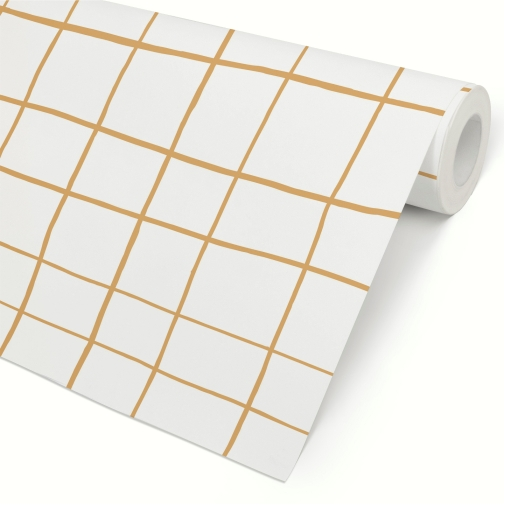 Papel de Parede Grid Irregular Amarelo Escuro Mostarda
