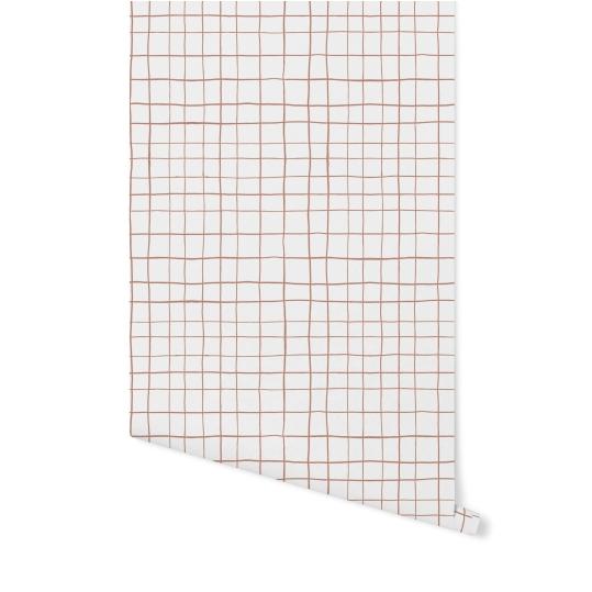 Papel de Parede Grid Irregular Rosa Escuro