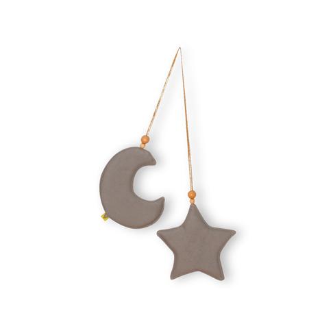 Pendente Adot em Tecido Lua e Estrela em Algodão - Cinza ou Mostarda