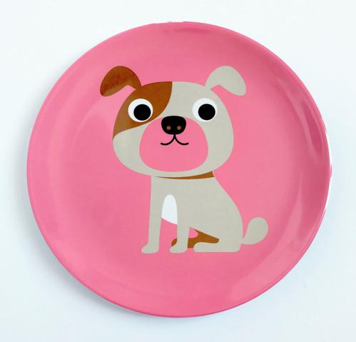 Prato (para alimentação ou para a parede) Infantil Omm Design - Cachorro Buldogue Rosa