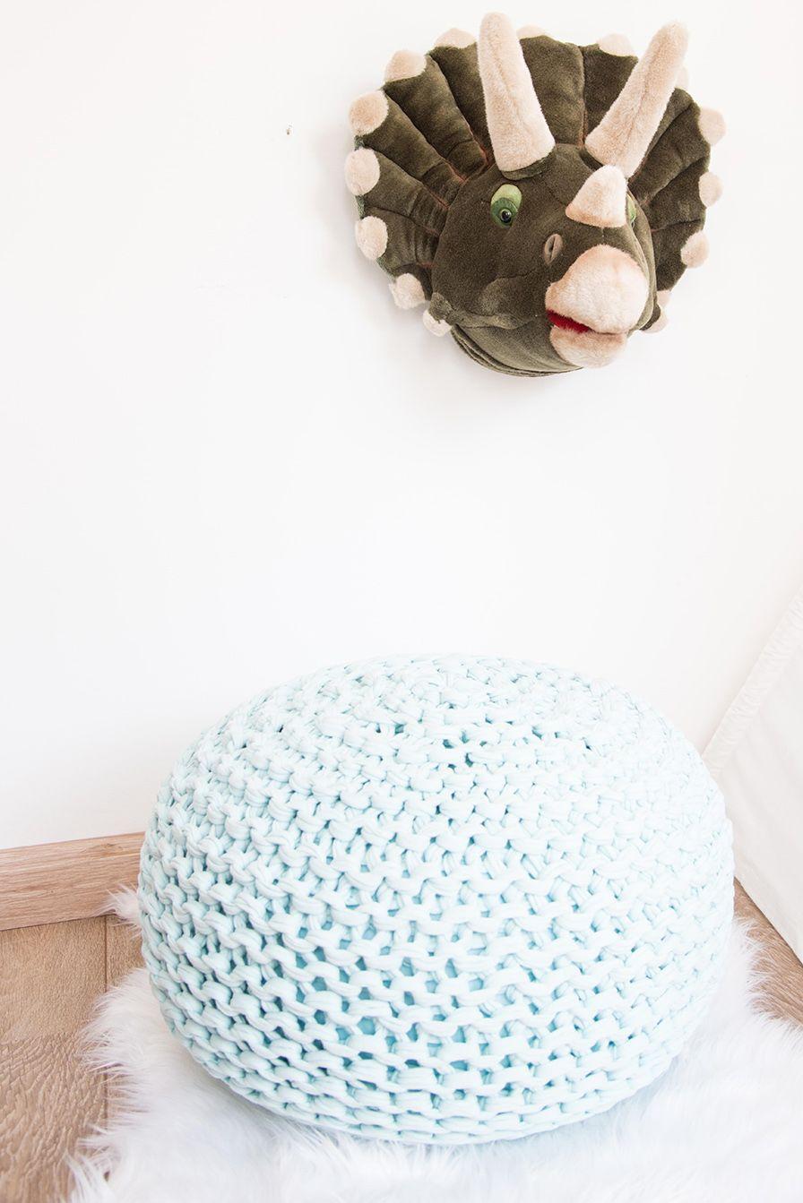 Puffe em Maxi Tricot Fio de Malha - Azul Claro